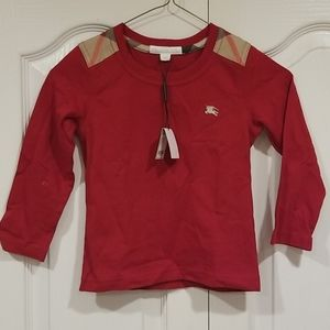 Boys 4Y Burberry Long sleeve military red shirt